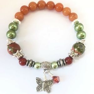 Jewelry - !!SALE 2/$30!! Olive Green/Orange/Red~Butterfly